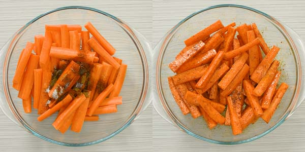 adding spices to carrots