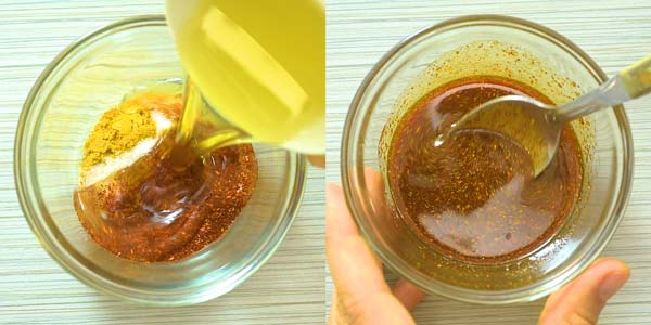 mixing spices for plantain chips