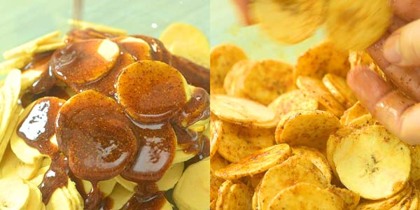 mixing plantain chips with oil and spices