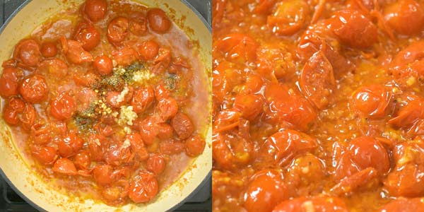 adding garlic and spices to the tomato sauce