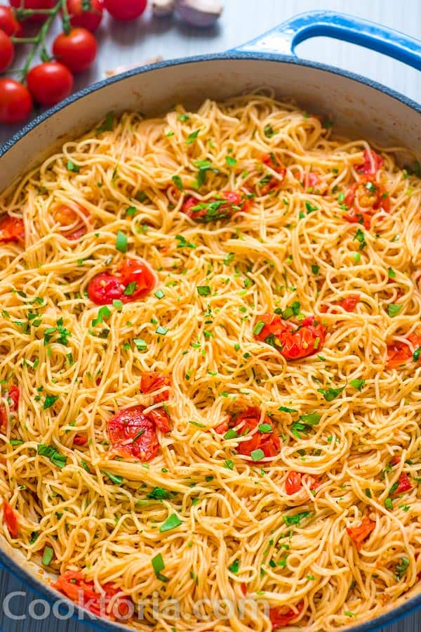 Angel Hair Pasta with Tomato Sauce in the skillet