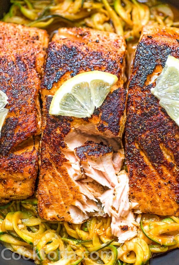 Flaked Blackened Salmon with zucchini Noodles