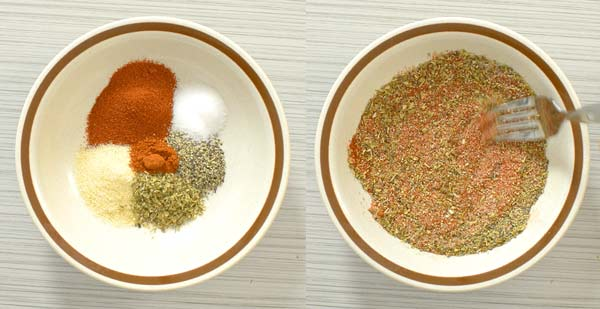 mixing the spices together to season the salmon