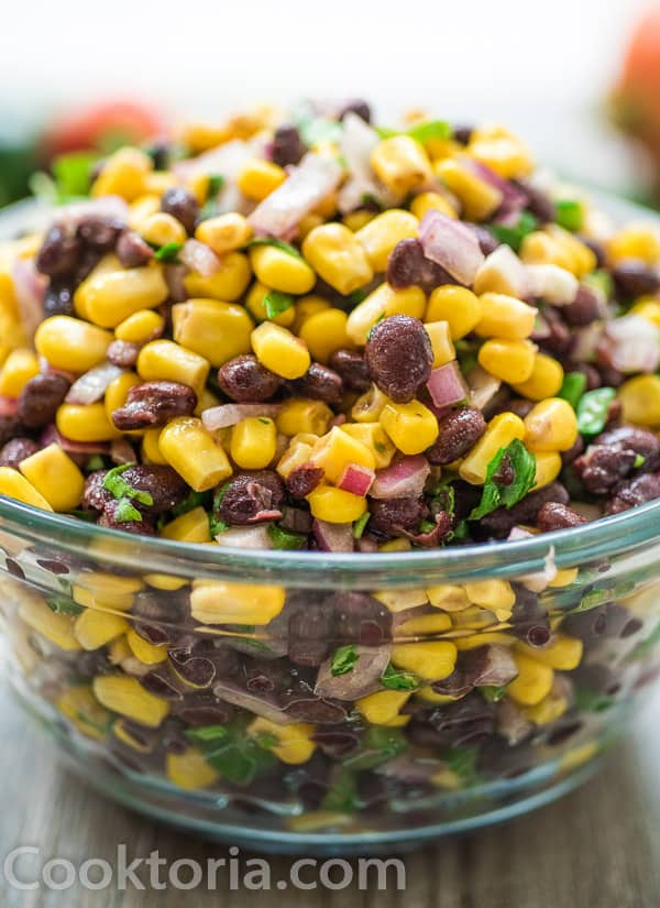 Black Bean and Corn Salsa in a large glass bowl