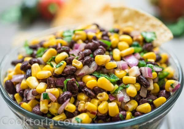 Black Bean and Corn Salsa in a bowl with Tortilla chips