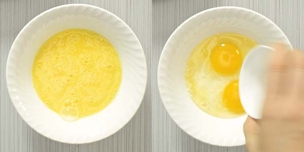whisking egg in a bowl