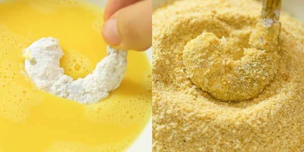 dipping shrimp in egg, flour, and breadcrumbs