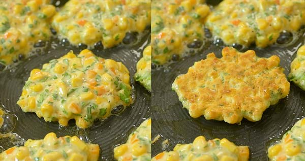frying corn fritters in olive oil