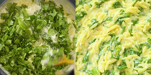 adding spinach and Parmesan to orzo pasta