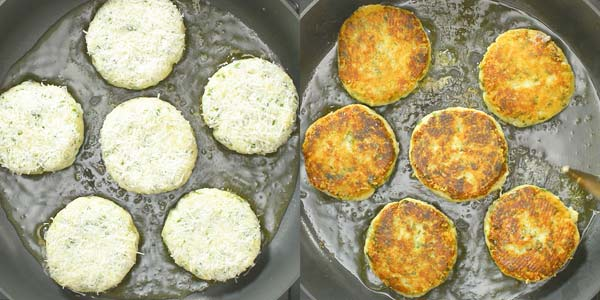 frying potato cakes in the skillet