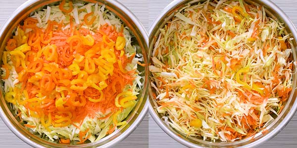 mixing cabbage, carrots, and pepper in a large bowl