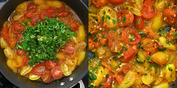 adding garlic and parsley to the tomato sauce