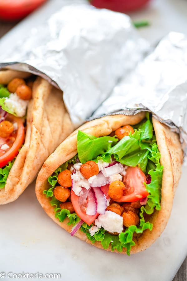 Vegetarian Gyro with lettuce, tomatoes, and chickpeas