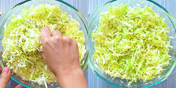 massaging the cabbage with salt