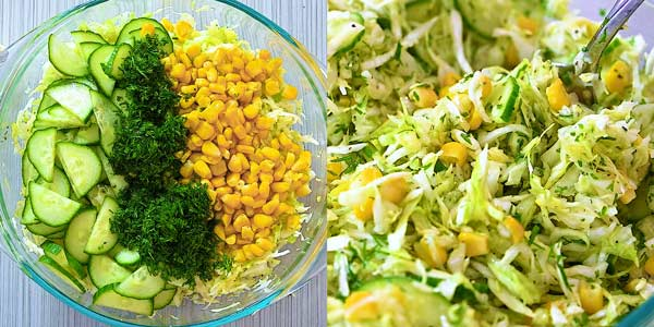 mixing cabbage with corn and cucumbers