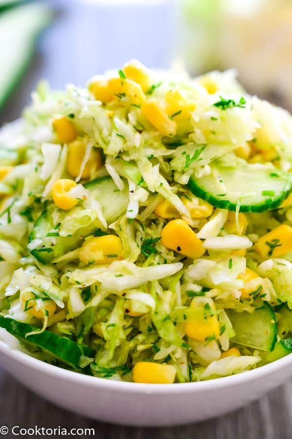 Cabbage Salad in a white bowl