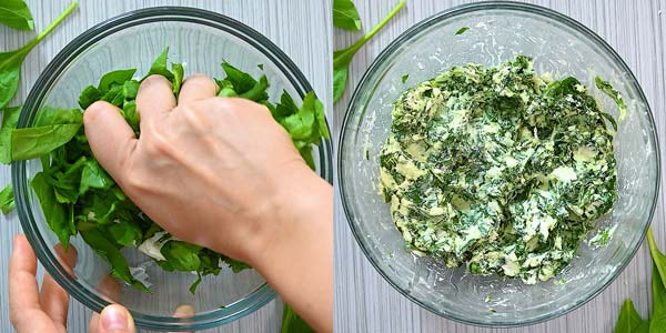 making the spinach stuffing for the salmon