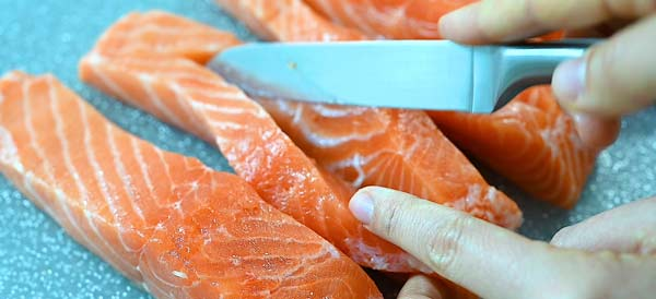 making a pocket in the salmon fillet