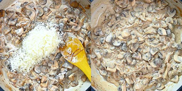 adding cream and Parmesan to the mushrooms