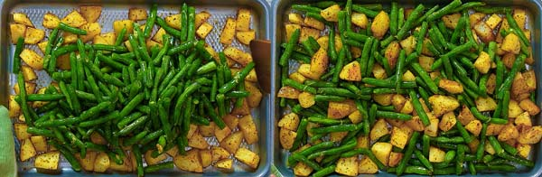 adding green beans to the potatoes