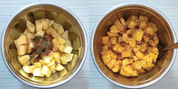 adding oil and spices to the potatoes