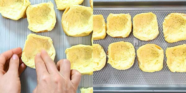 making cups from brioche buns