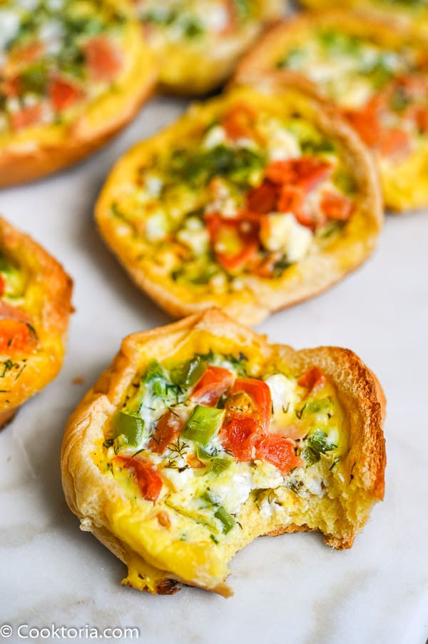 veggie egg cup with a bite
