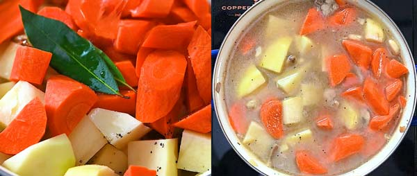 adding potatoes and carrots to the pot