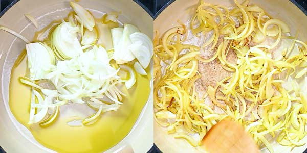 cooking onions in olive oil