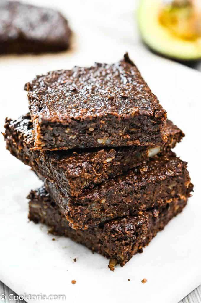 Avocado Brownies stacked on top of each other