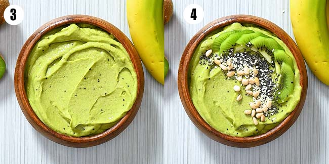topping the smoothie with kiwi and seeds