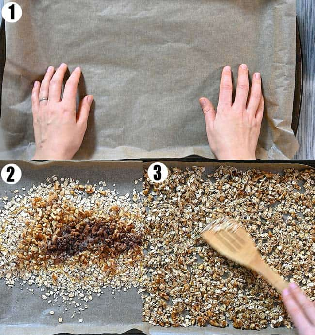 mixing the ingredients for granola together