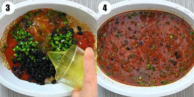 adding salsa and other ingredients to rice