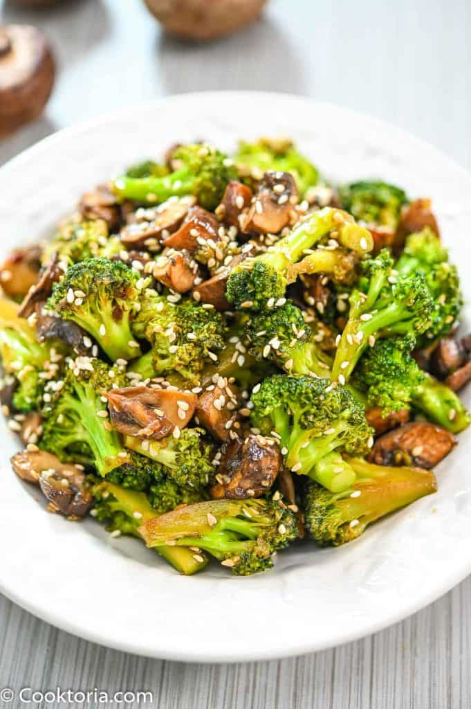 Broccoli and Mushroom Stir-Fry in a white plate