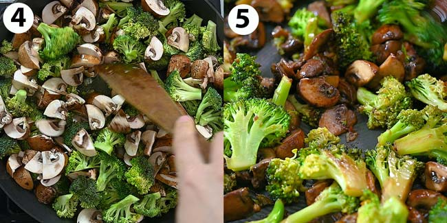 frying the broccoli and mushrooms