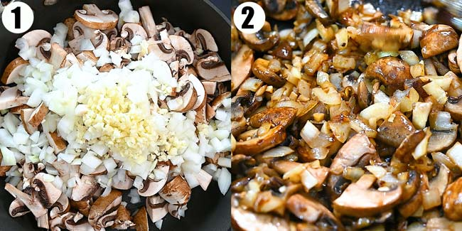 cooking mushrooms with onions