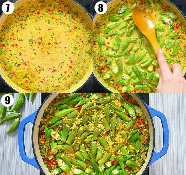 adding water and okra to the pot