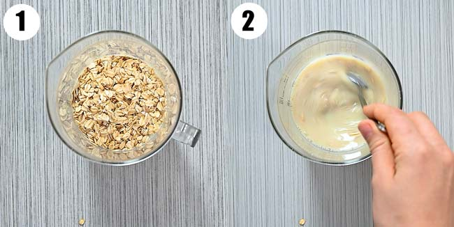 whisking oat milk with oats
