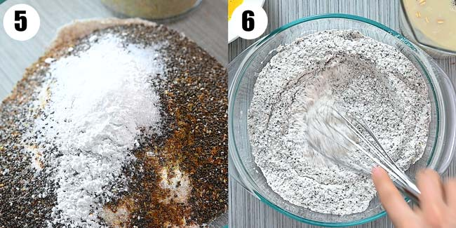 mixing flour and grains together