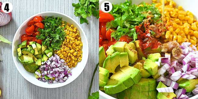 adding salad ingredients to the bowl