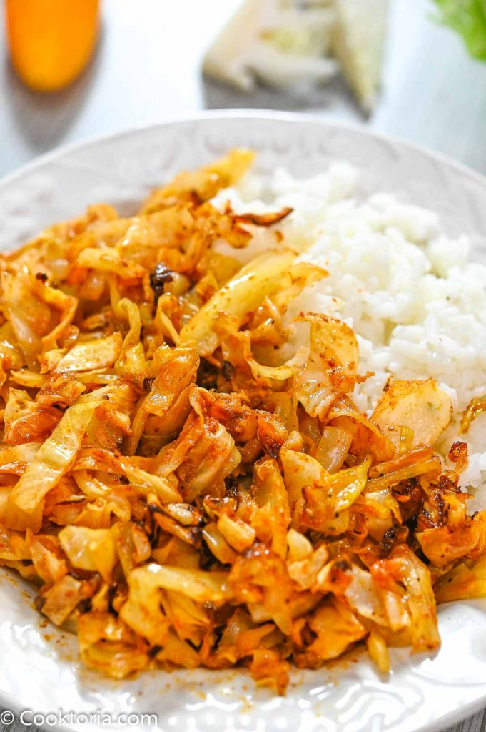 Baked Cabbage with rice on the side