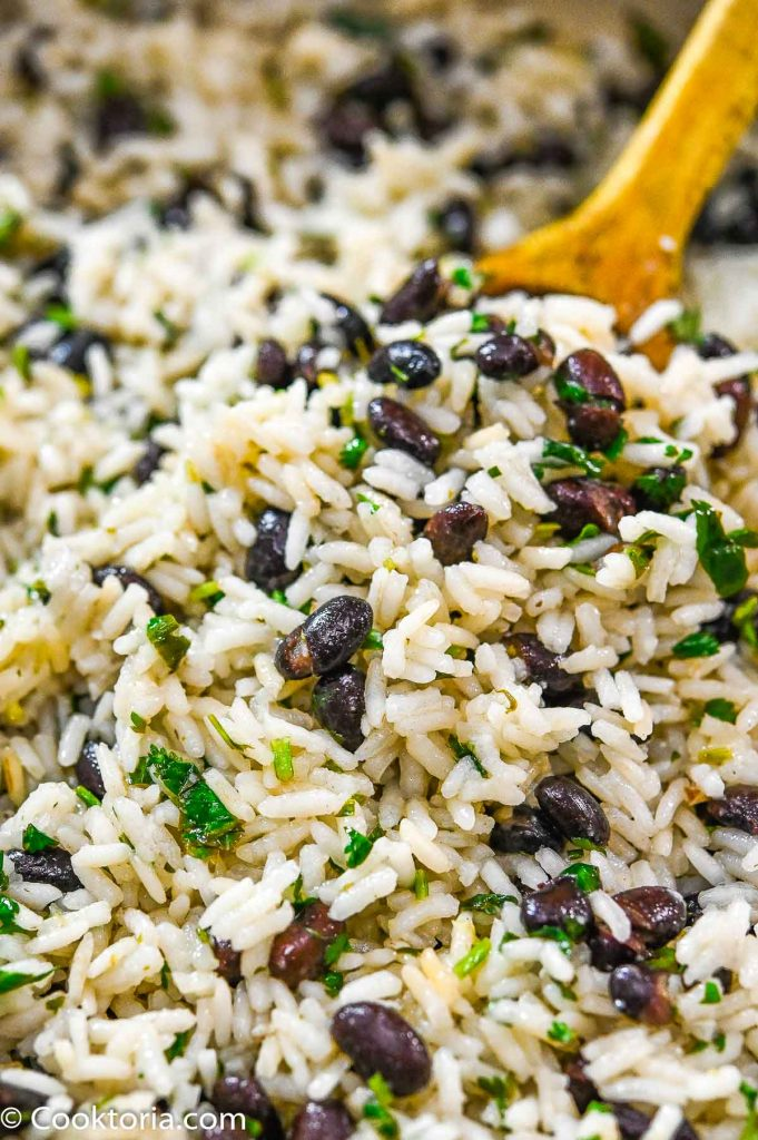 Cilantro Lime Rice on a wooden spoon