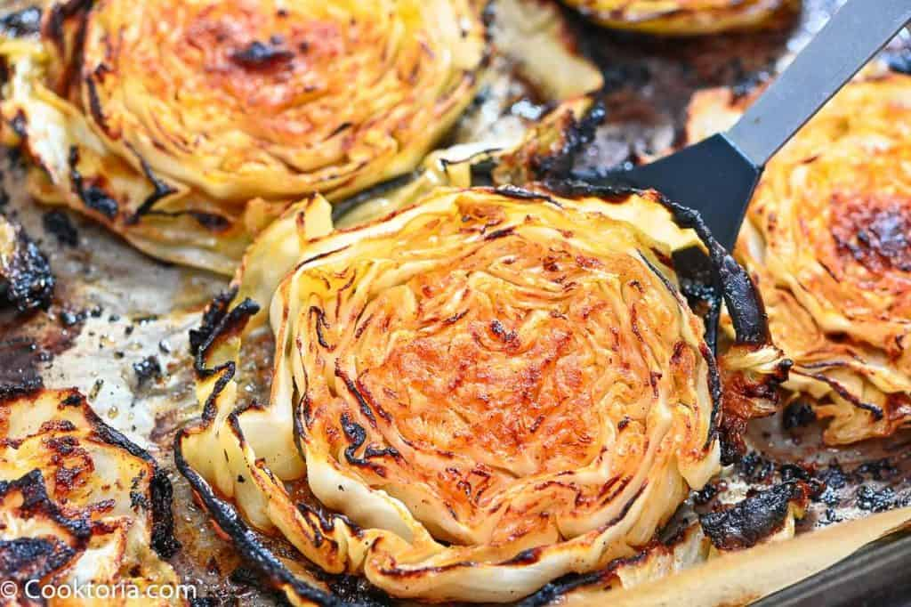 roasted cabbage on a baking sheet