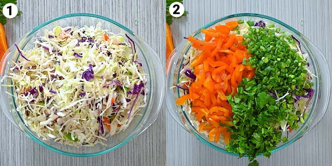 adding coleslaw mix to the bowl