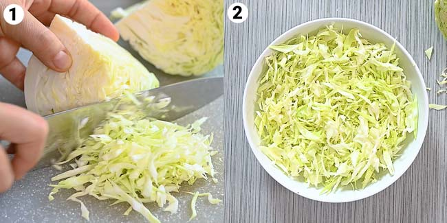 cutting the cabbage