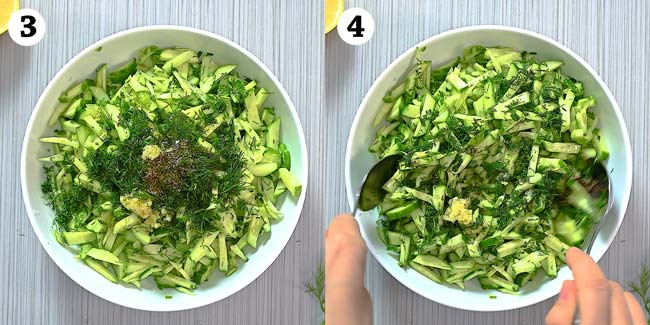 adding herbs and spices to the salad