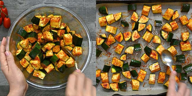 mixing zucchini cubes with spices in a bowl