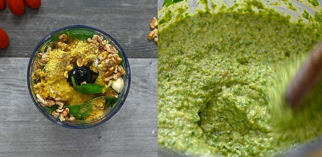 making pesto sauce for the sauce