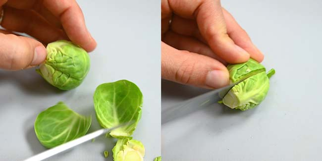 cutting the sprouts