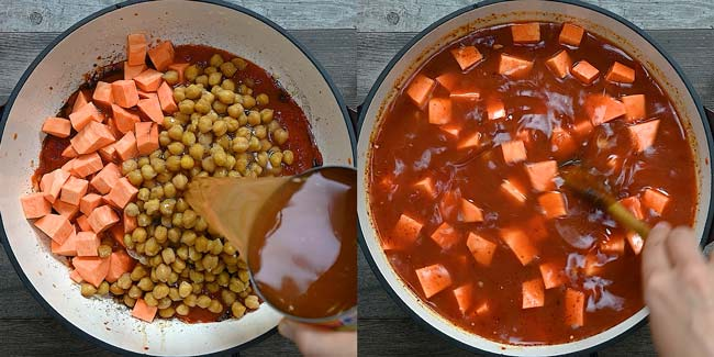 adding sweet potatoes and chickpeas